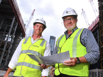 Simon Crooks, project director of Destination Brisbane Consortium with Multiplex project director Dayne May on the Queens Wharf Site
